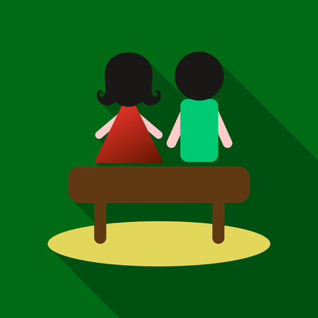 young couple sit on the bench