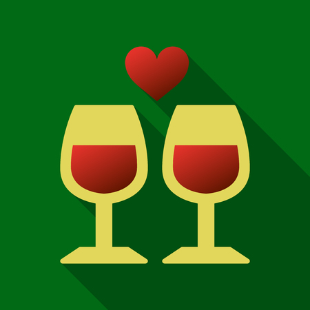 Two glasses of wine or champagne. Cheers icon. Vector illustration. heart Illustration