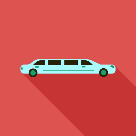 automobile door: color limo. limousine. hearse. Flat vector illustration. Isolate. Luxary vehicle. Side view