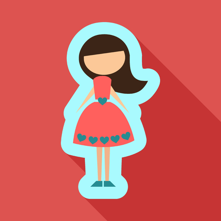 Vector illustration cartoon mother . Isolated white background. Flat design. The woman on 8 march