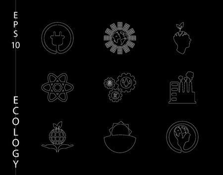 Green, ecology and environment icon set in vector format icons in thin line sets