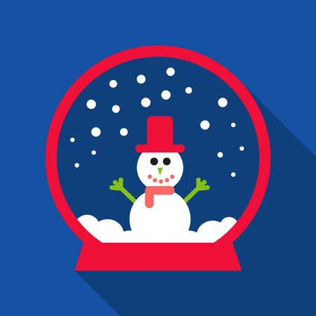 Simple modern clean melted or melting snowman cartoon in a glass ball crystal or globe vector flat design