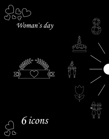 I love you womens doodle icons in set of womens day Stock Illustratie