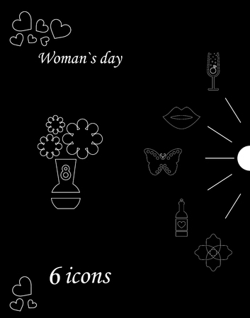 I love you womens doodle 6 icon in set of womens day Stock Illustratie
