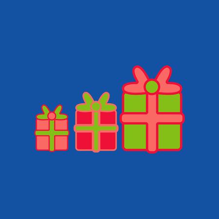 Tree Present box gift in pack christmas box Stock Illustratie