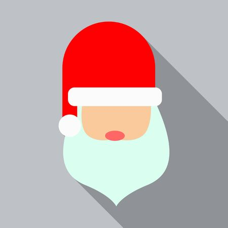 Santa Claus with red new year hat icon flat graphic design Stock Illustratie