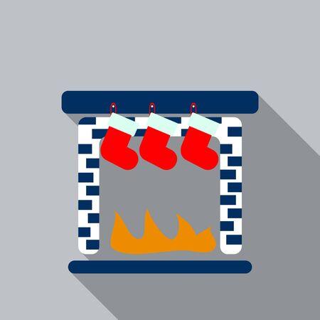 Christmas card with fireplace and christmas socks flat icon design