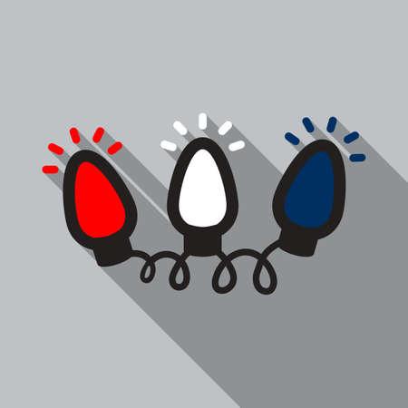 Colorful christmas light bulbs flat icon design Stock Illustratie
