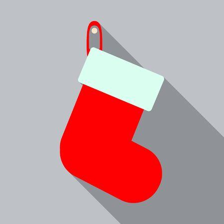 Christmas sock decoration icon for presents Stock Illustratie