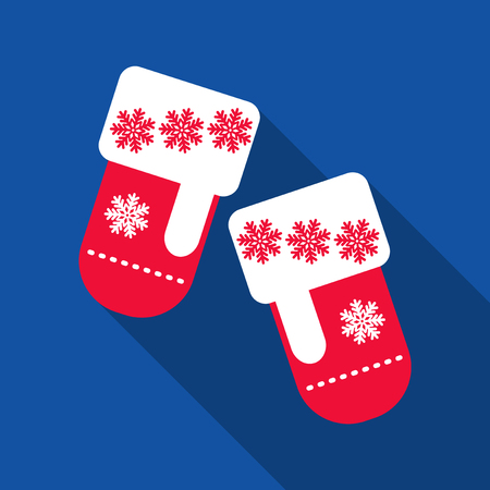Vector illustration pair of knitted christmas mittens on blue background. Stock Illustratie