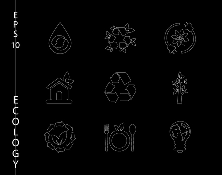 Green, ecology, and environment icon set in vector format icons in thin line sets