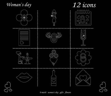 I love you womens doodle 12 icon in set of womens day Stock Illustratie