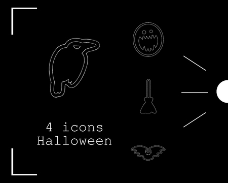 Collection of 4 halloween icons vector illustration in thin line style Stock Illustratie
