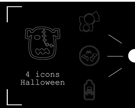 Collection of 4 halloween icons. Vector illustration in thin line style Imagens - 89953813