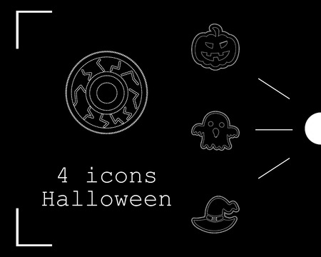 Collection of 4 halloween icons vector illustration in thin line style Illustration