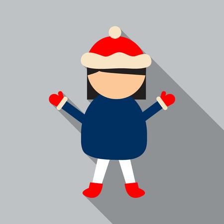 Vector illustration of little girl wearing winter clothes Stock Illustratie