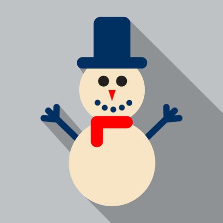 Snowman vector illustration with blue hat flat design