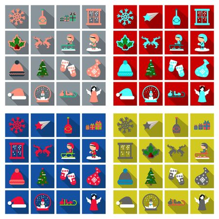 Set of flat new year and christmas icon with dark shadow Stock Illustratie
