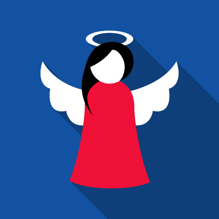 Christmas cute angel in red dress flat icon Stock Illustratie