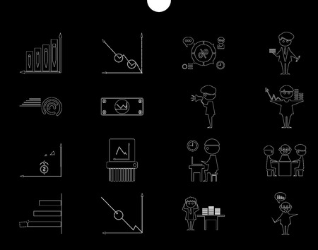 Outline web icon set of money, finance, payments silhouette