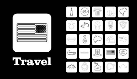 Travel line icons for web and mobile thin line icons