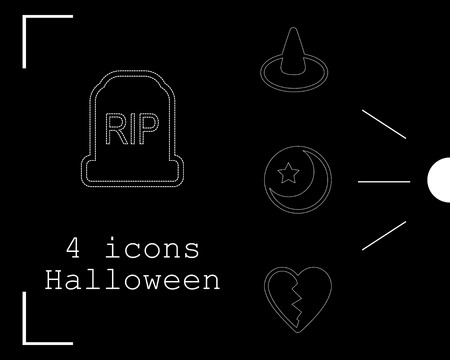 Collection of halloween icons. Vector illustration in thin line style