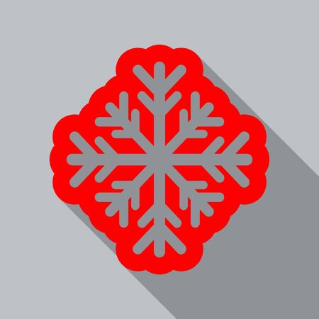 Winter snowflake flat icon design with shadow
