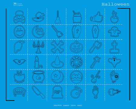 Collection of 36 halloween icons. Vector illustration in thin line style  イラスト・ベクター素材