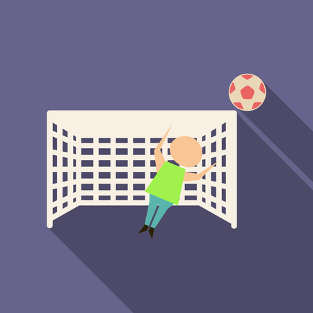 Football goal with goalkeeper in flat style with shadow Illustration