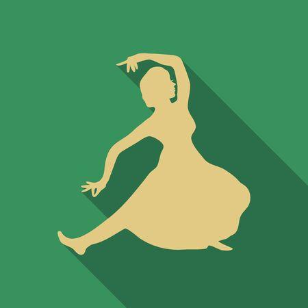 Vector illustration of Caucasian woman dancing in the national costumes. Lezginka dancer.