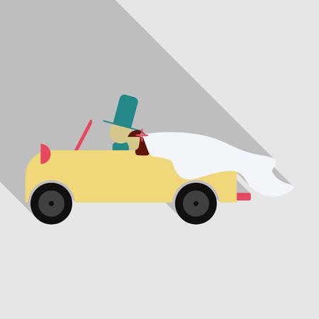 Jonggehuwde paar is een vintage converteerbare auto rijden voor hun huwelijksreis met net getrouwd bord en blikjes bevestigd. Stock Illustratie