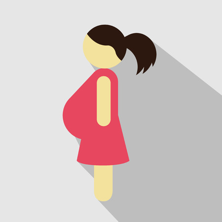 Pregnant woman in red dress isolated on white. Vector illustration.