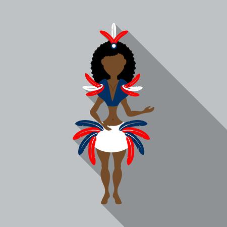 Brazilian samba dancers. Vector carnival girls wearing a festival costume is dancing. Illustration