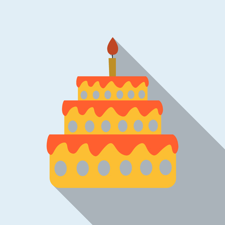 Cake with one candle Illustration