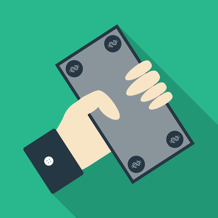 Businessman has money in flat style with shadow. hand hold paper bill.