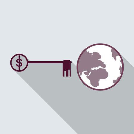 world and key on background in flat style with long shadow Vektoros illusztráció