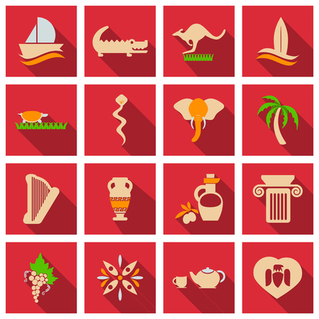 Set of vector images on the theme of ancient Greece. They can be used as logo design elements, as illustration for travel agencies.