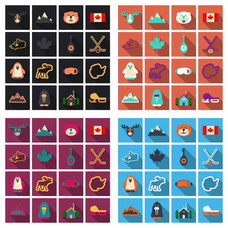 Set of winter sport equipments and animals icons.