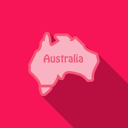 Highly detailed map of Australia in flat style illustration with shadow