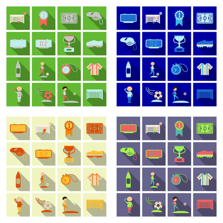 Set of football icons and equipments in flat style illustration with shadow Çizim