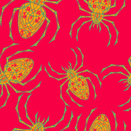 Spiders seamless pattern on red background. Illustration