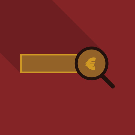 Checking the authenticity of money icon illustration on red background.