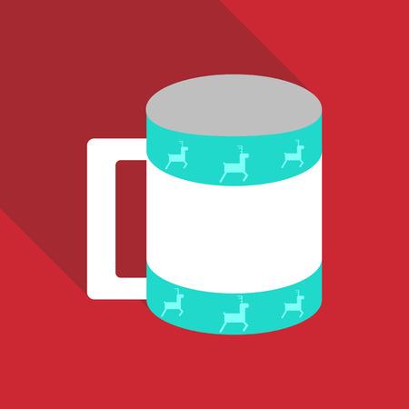 赤い背景に鹿のデザインのコーヒーカップ。  イラスト・ベクター素材