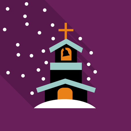 Church icon isolated on snow background