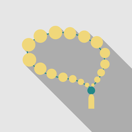 Rosary icon religious accessories in flat style illustration with shadow Illustration
