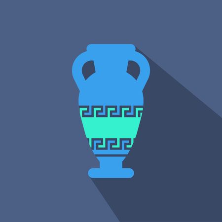 Illustration of Amphora from Greece in flat style illustration with shadow