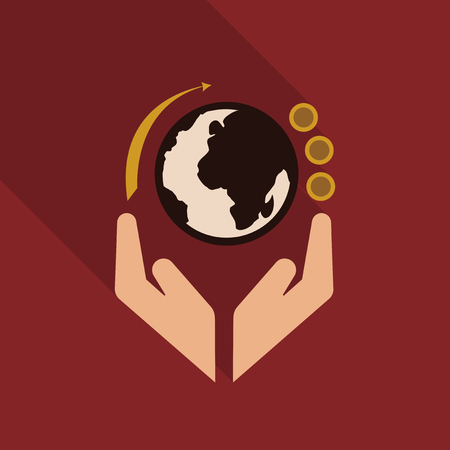 hands holding globe earth web icon. save earth concept vector illustration Illustration