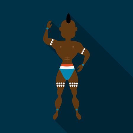 Bailarines de samba brasileños. Los hombres del carnaval del vector que llevan un traje del festival están bailando.