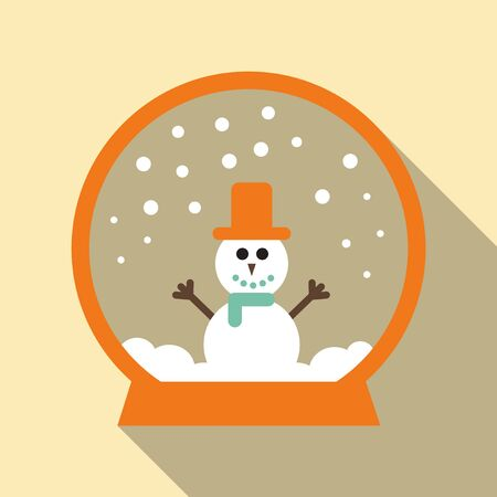 simple modern clean melted or melting snowman cartoon in a glass ball crystal or globe vector flat design isolated game. Gift in a rounded circle button for web and postcard