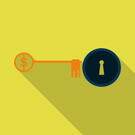 Lock with key flat vector icon. Sign dollar on key Illustration